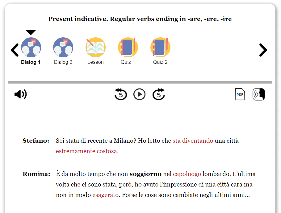 Screenshot of the first dialogue in a present indicative grammar lesson.