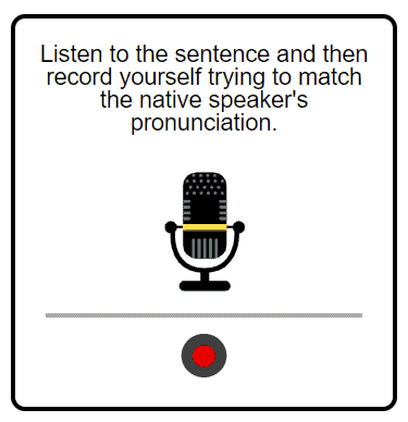 A screenshot of a microphone icon used in the pronunciation section of a news lesson.