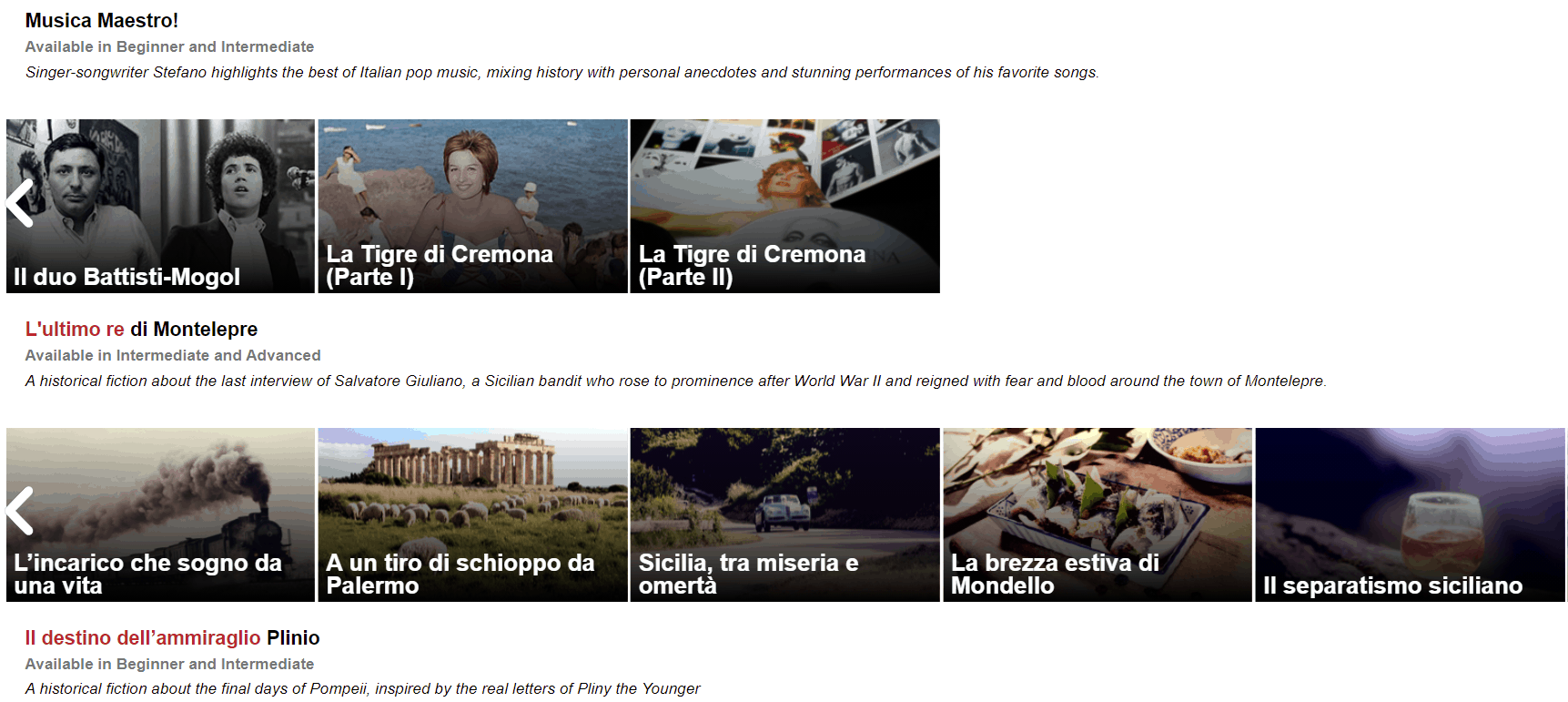 Screenshot of the lessons that make up News in Slow Italian series.