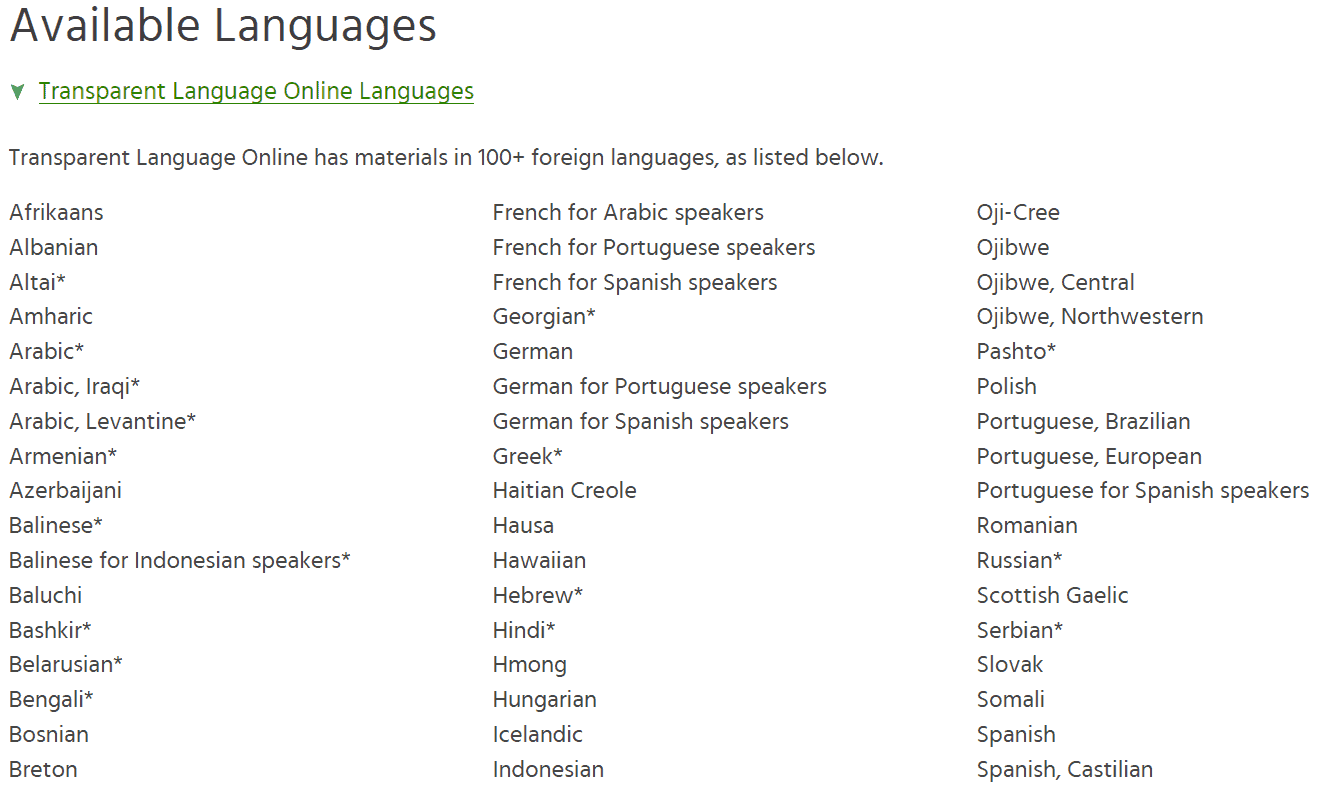 Available Languages