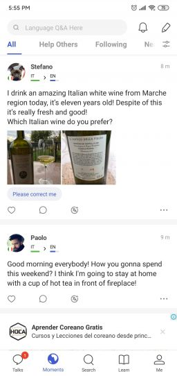 Social posts in the Moments section of HelloTalk.