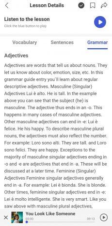 The grammar explanation for a HelloItalian audio lesson.