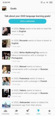 An example of the Goals section of the Tandem app. There is a feed where user's goals are published for others to see.