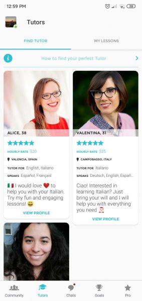 Screenshot of the Tandem Tutors section of the app. The image shows three tutors; it shows their picture, rating, price, and languages.