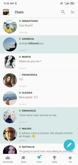 Screenshot of the Chats section in the Tandem app. Shown are a list of messages in an inbox.