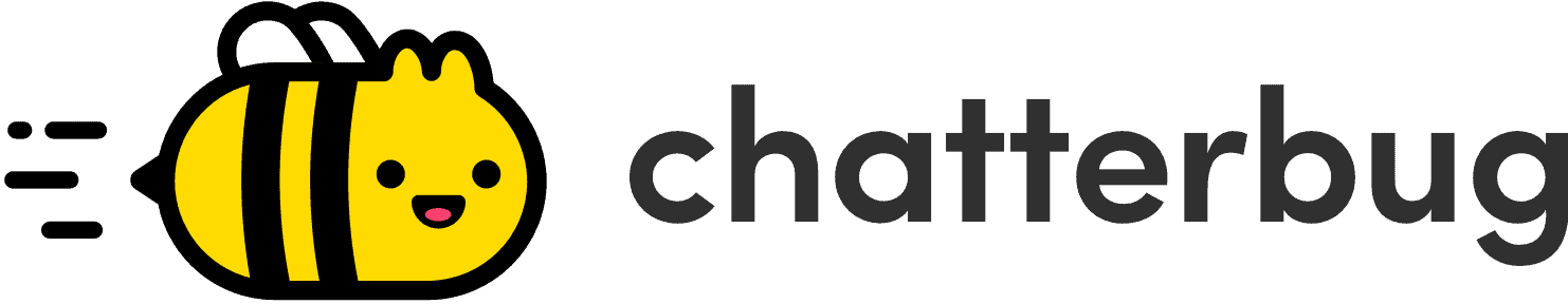 The Chatterbug logo is a happy flying bee with ears and the word,