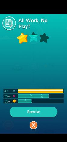 Screenshot showing one out of three stars earned in the course,