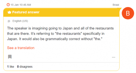 Screenshot of a featured answer on HiNative. Featured answers are displayed with a yellow border and a crown icon.