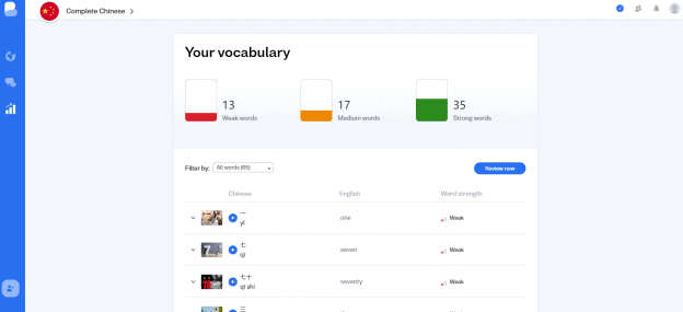 The Your Vocabulary section on the Review page in Busuu where you can see all the words you've learned and how strongly they're committed to memory.