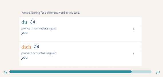 An example of a screen that appears when the user types the wrong word in a flashcard.