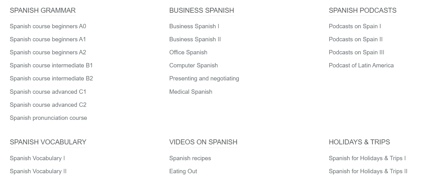 This screenshot shows all of the different Spanish courses available in Lengalia.