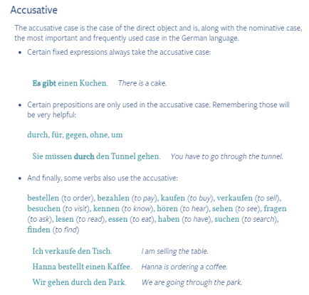 This is a section of the Grammar Tips feature on the German accusative case.
