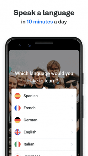 Promotional material showing the Busuu app on Android and some of the different languages you can choose from.