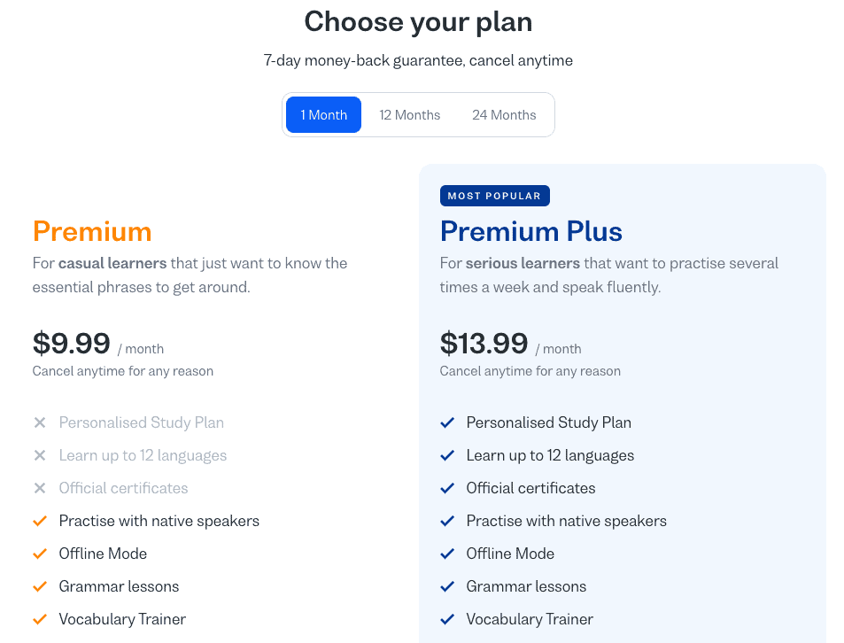Image from the Busuu website listing the differences between the Busuu Premium and Premium Plus memberships.