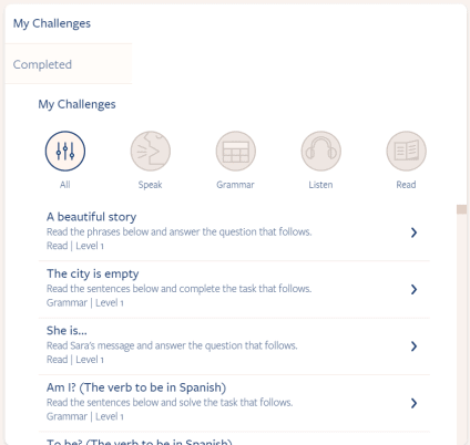 This is the main screen of the Challenges section.