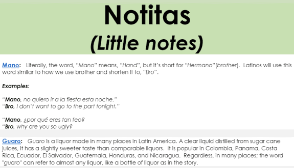 This is a sample of the Notitas section of an audio lesson, showing explanations of various colloquialisms and vocabulary.