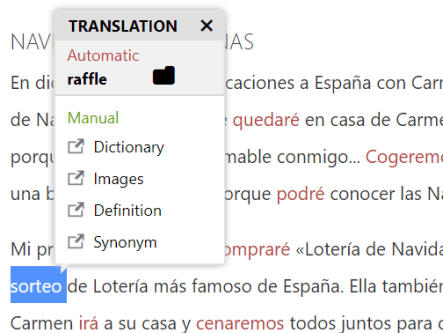 This screenshot shows the Lengalia translation tool in action; it's showing the English translation of the highlighted Spanish word,