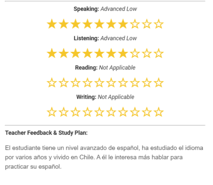 Screenshot of an email from Live Lingua showing the speaking, listening, reading, and writing assessments from the trial class.