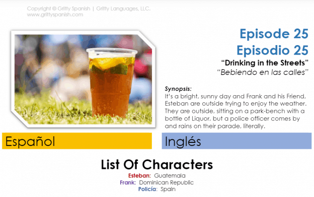 This is the beginning of the PDF that comes with each audio lesson. It shows the title of the episode, a synopsis, and a list of characters.