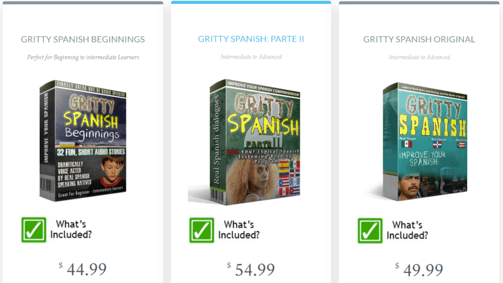 This shows the prices for each of the different Gritty Spanish courses.