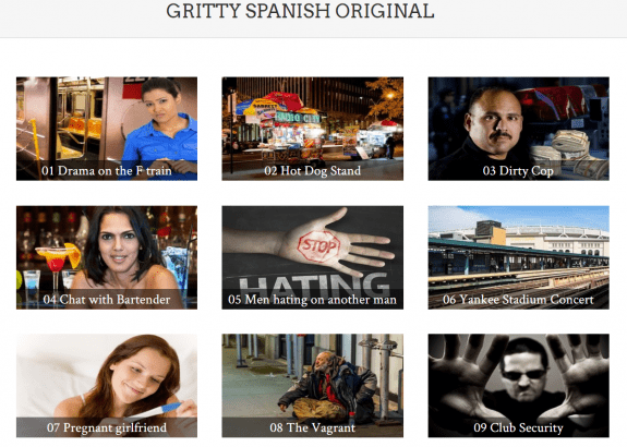 The lesson menu for the original Gritty Spanish course.