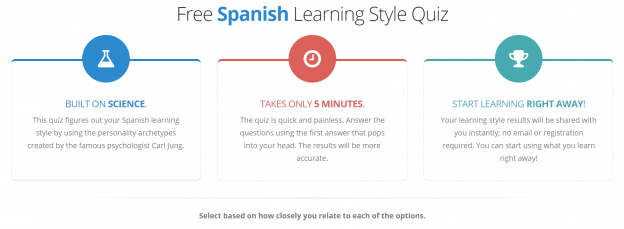 Screenshot of a table outlining the benefits of the free Spanish learning style quiz: it's