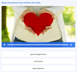 Image of a listening exercise with an image of a woman holding the shape of a heart.