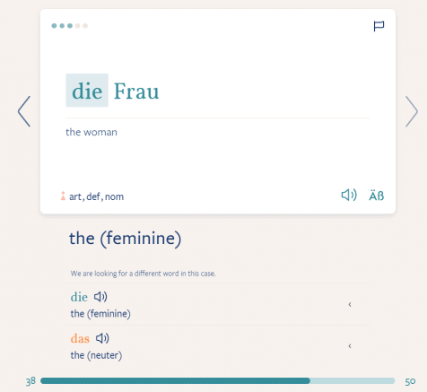 An example of a flashcard in German.