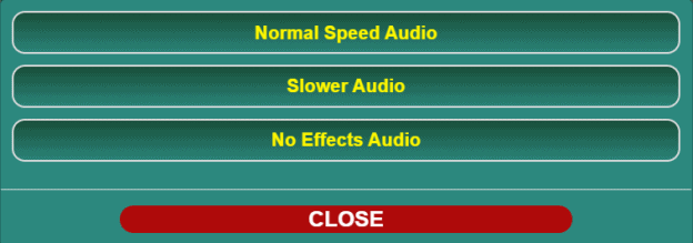 The options menu for audio playback.