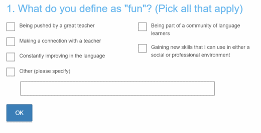 Example survey question from Live Lingua that asks,