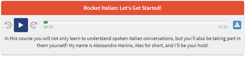 This is the first audio lesson in the Italian language course.
