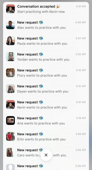 This is the long list of notifications I received when many users sent message requests to me.