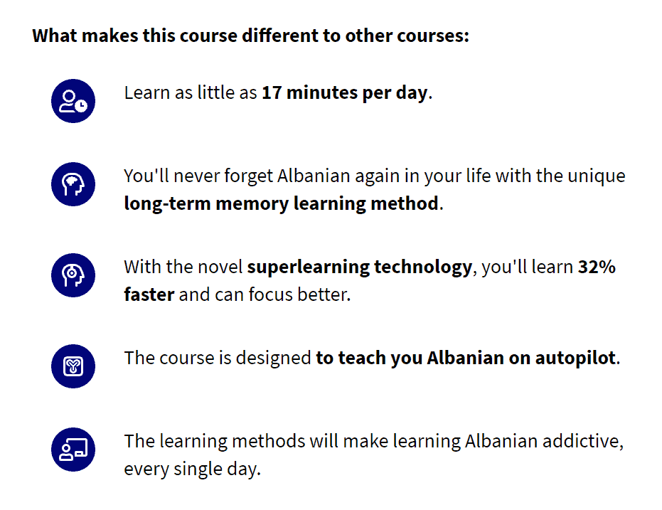 List describing what makes 17 Minute Languages different from other courses.