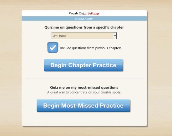 Vocab Quiz Settings