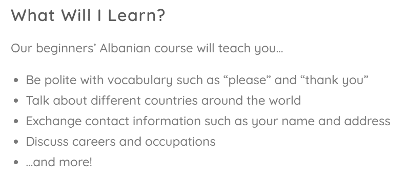 Cudoo Albanian Course Content