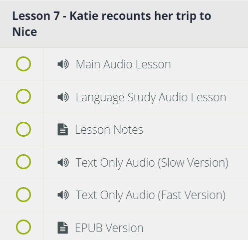This lesson menu shows the materials available in lesson 7 of the season three French course.