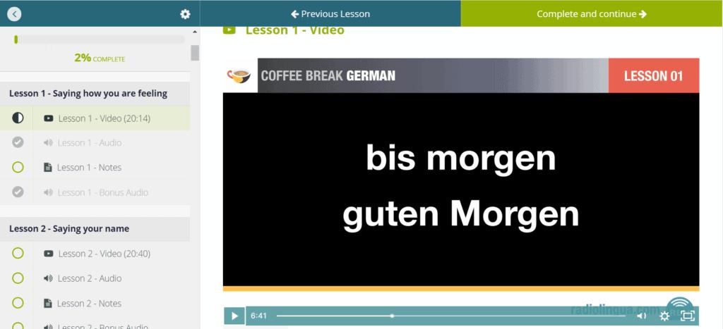 Coffee Break German Home Screen