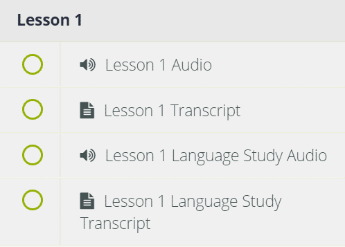 This menu shows the materials that are available in the first lesson of the season four French course.