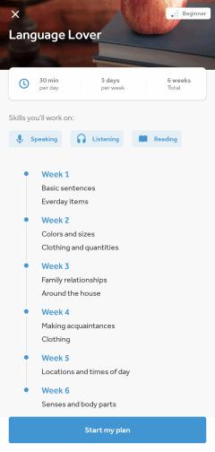 Language Lover Beginner Study Plan