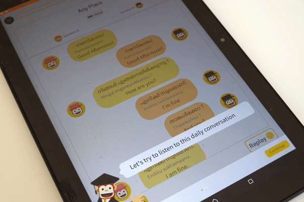 A tablet with the Ling app teaching a Malayalam conversation