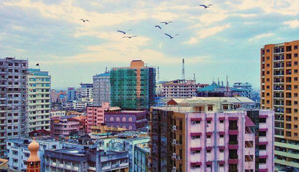 The tops of skyscrapers in Dar es Salaam, Tanzania