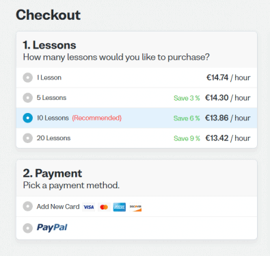 Screenshot of Verbling checkout showing fees, discounts, and available payment methods