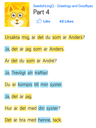 Several words in Swedish from a beginner lesson with words highlighted in blue and yellow.