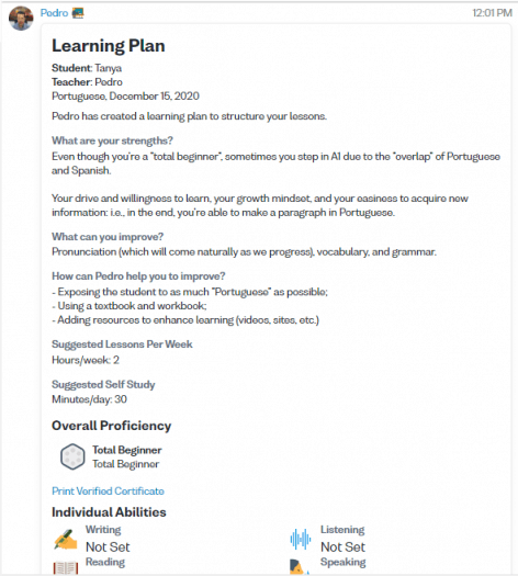 Screenshot of a Portuguese learning plan from the Verbling website