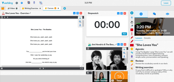 Screenshot of Verbling demo lesson with song lyrics, stop watch, and YouTube video on a canvas