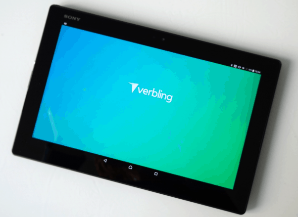 Verbling app opening up on a tablet