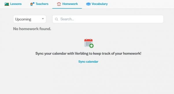 Screenshot of the homework tab on the Verbling website, with the option to synchronize it with a calendar