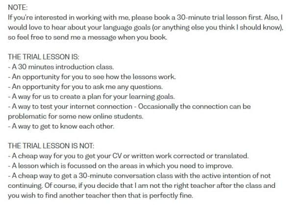 Screenshot from a teacher profile on Verbling, with 18 lines of text about trial lessons