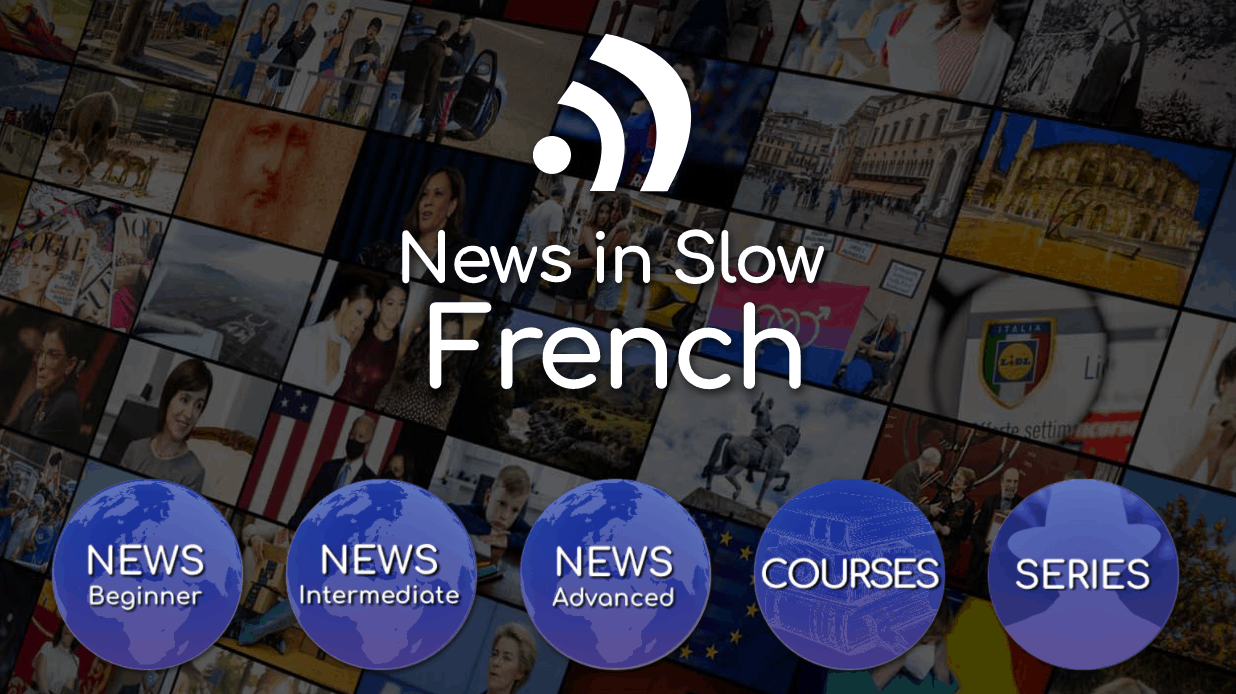 Screenshot of the News in Slow French landing page