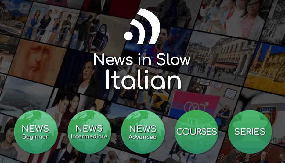Screenshot of the News in Slow Italian Landing Page